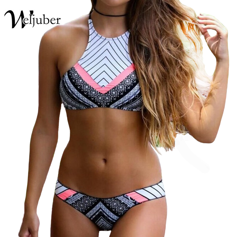 Women Bikini Push Up Swimwear Swimming Suit For Women Print Sexy Bikini Set Swimsuits Padded Bra Bathing Suit Brazilian Retro цена 2017