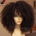 180 densidad de cabello Natural pelucas rizado rizado corto peluca de cabello humano pelucas delanteras del cordón gluless peluca llena del cordón del pelo humano pelucas para negro mujeres