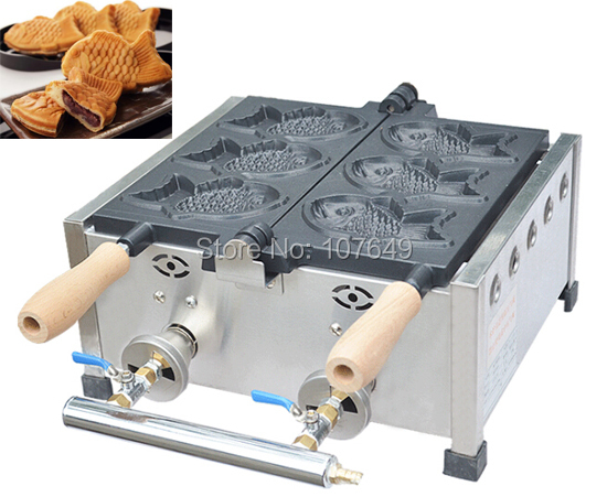 Hot Sale 3pcs Fish Commercial Use Non-stick LPG Gas Taiyaki Maker Iron Machine Baker hot sale 6pcs taiyaki commercial use non stick lpg gas fish waffle maker iron machine baker
