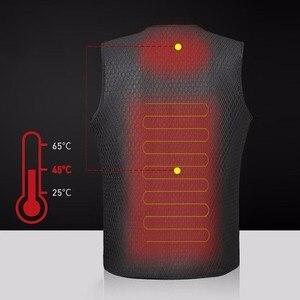 Image 2 - 男性女性屋外 usb 赤外線加熱ベストジャケット冬柔軟な電気熱衣類ウエストコートノースリーブ保温