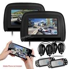 1024*600 Coche DVD Reposacabezas Monitor con Puerto HDMI DVD USB SD FM IR Juego Transimitter coche asiento trasero monitor