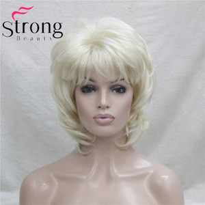 Image 2 - StrongBeauty Short Layered Blonde Classic Cap Full Synthetic Wig Womens Hair Wigs COLOUR CHOICES