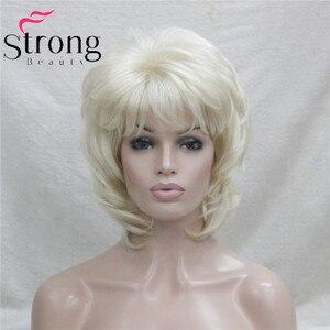 Image 2 - StrongBeauty קצר שכבות בלונד קלאסי כובע מלא סינטטי פאה נשים שיער פאות צבע אפשרויות