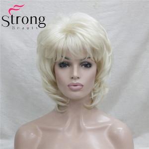 Image 2 - Strongbeauty 짧은 계층화 된 금발 클래식 모자 전체 합성 가발 여성의 머리 가발 색상 선택