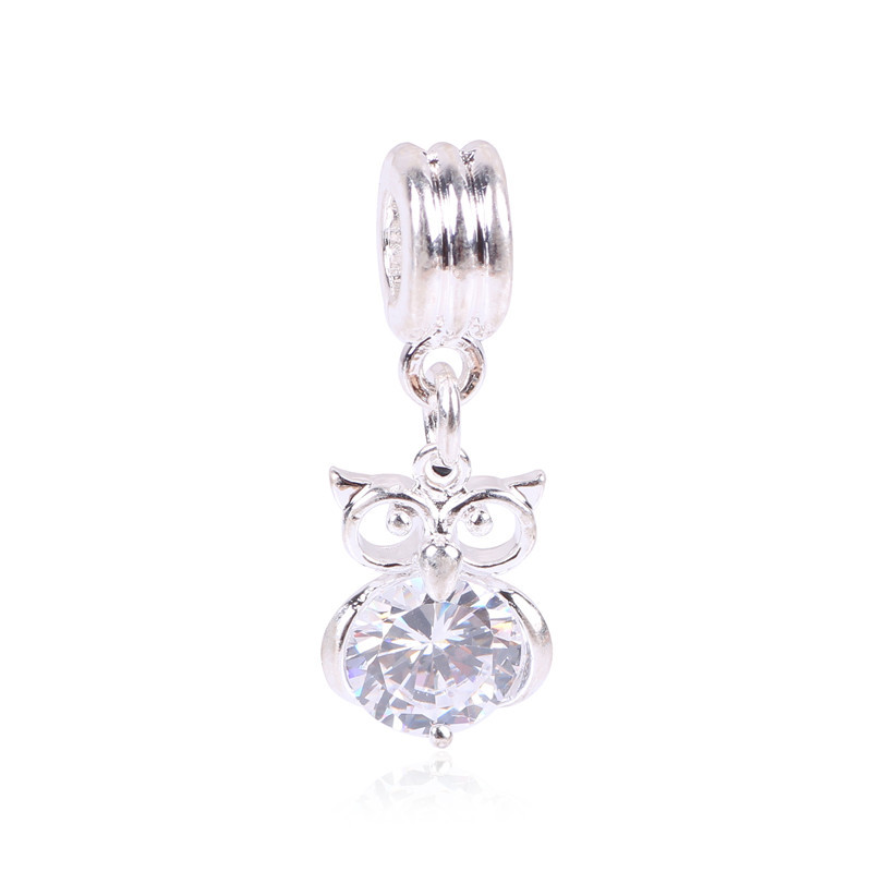 Flower Heart With Big Crystal Free Shipping Hanging Bead Pendant Charm Fit European Pandora Charm Bracelets Necklaces Jewelry
