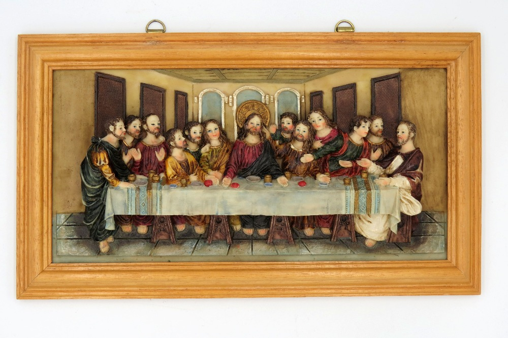 Us 32 88 Wall Art Decoration Stone Resin Christ The Last Supper Statue Religious Figurine Gold Frame Ready To Hang Wood In Statues