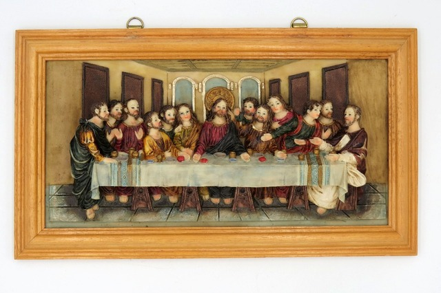 Wall Art Decoration Stone Resin Christ The Last Supper Statue Religious Figurine Gold Frame Ready