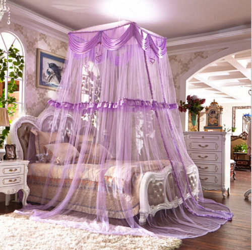 Light Purple Lace Luxury Decorative Dome Bedding Netting Canopy u0026Twin Full Queen King & Light Purple Lace Luxury Decorative Dome Bedding Netting Canopy ...