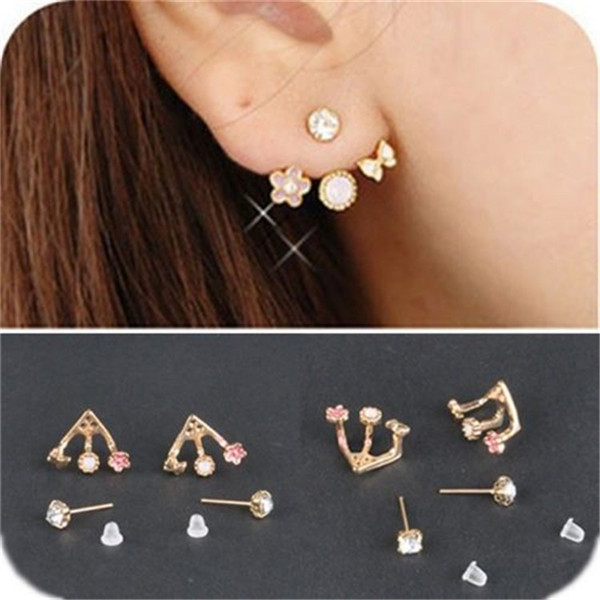 H Hyde Earring Crystal Gold Color Jewelry High Quality Flower Ear Clips Stud Earrings For Women Brinco Femme Boucle D Oreille