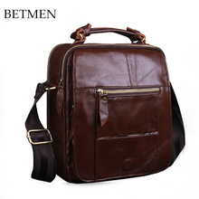 BETMEN Vintage genuine leather men messenger bags small handbags casual male shoulder bag