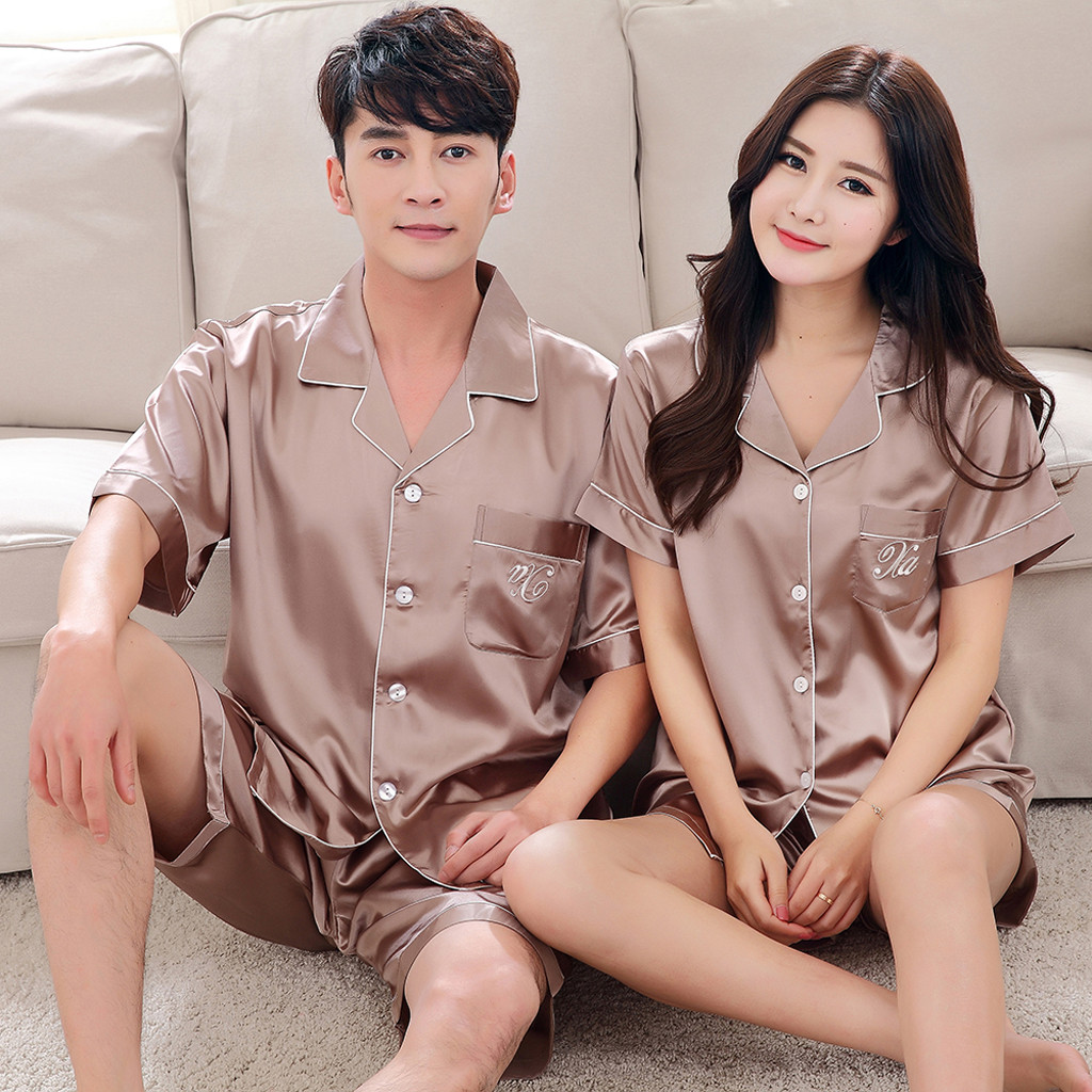 Pajamas Sleepwear Shorts Soft-Nightgown Male Satin Silk Summer For Men Rayon Jan9