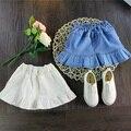Бесплатная доставка летний новый детская одежда Джинсовая юбка девушки Лолита диких гофрированная юбка сплошной цвет мальчик rosette4-10T