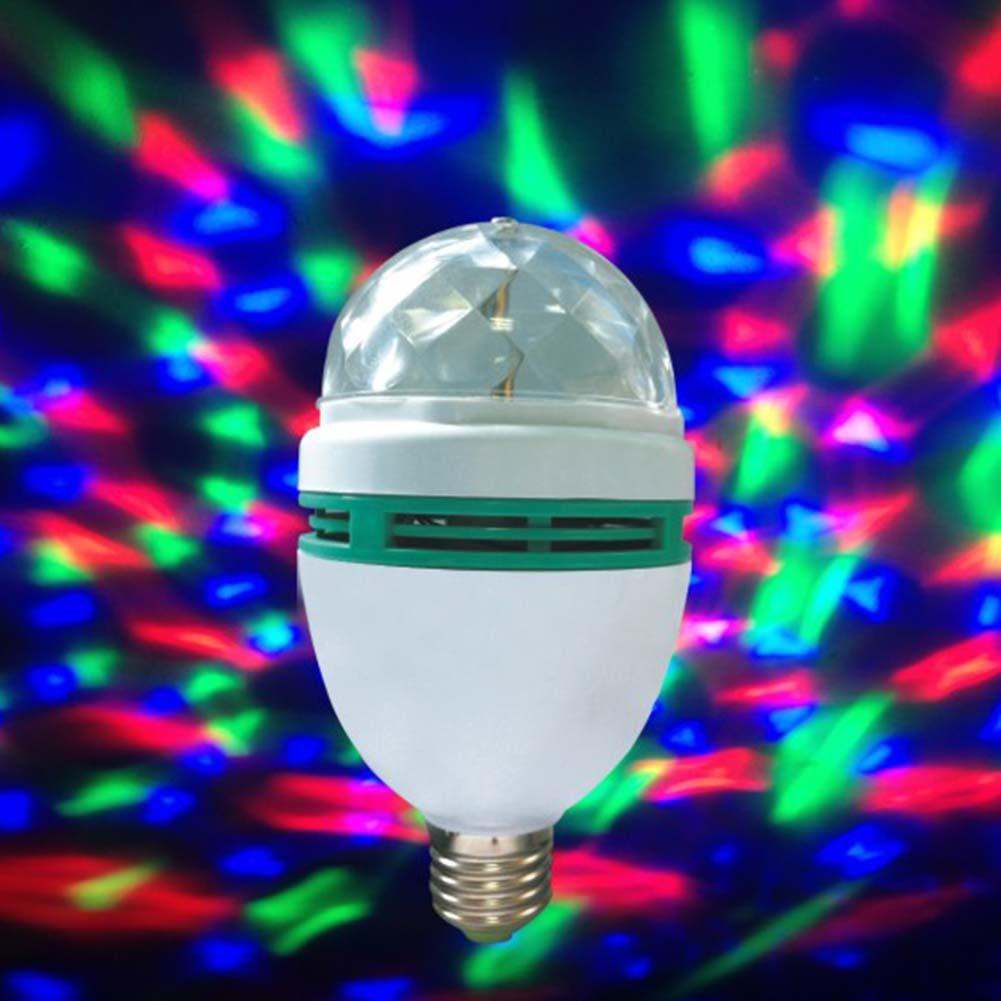 B22 3w Rgb Led Crystal Stage Rotate Color Light Bulb Party
