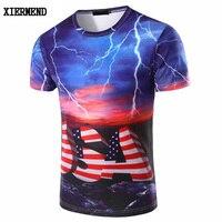 Personal Lightning 3DUSA American Stripe Pattern Print Slim T Shirt