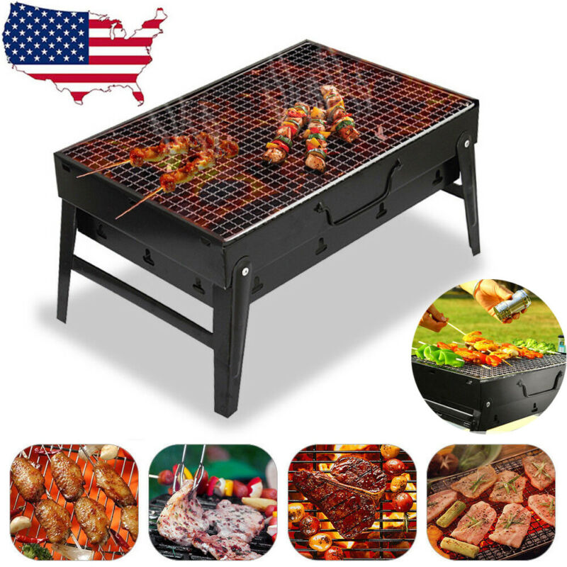 New arrival Fold Barbecue Charcoal Grill Portable Outdoor Picnic Cooking Stove Tools Kabob Stainless Steel BBQ Patio Camping