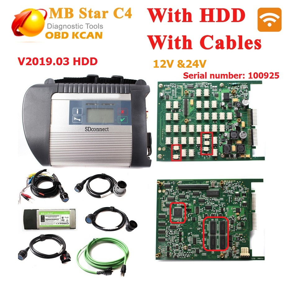 Best quality !! MB star c4 connect full set +03/2019 HDD SD Compact C4 with WIFI mb star c4 newest software for 12V and 24V cars