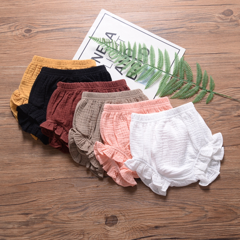 Baby Chiffon Fashion Casual Large PP   Shorts   Summer Infant Solid Color Cotton Linen Bloomers Toddler Girls Bread Pants Trousers