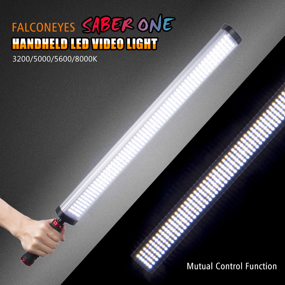 FalconEyes Saber One LED Video Tube Light Stick 22W High CRI 90+ 4 Color Temperature 3200/5000/5600/8000K 360 Led 3 Channel
