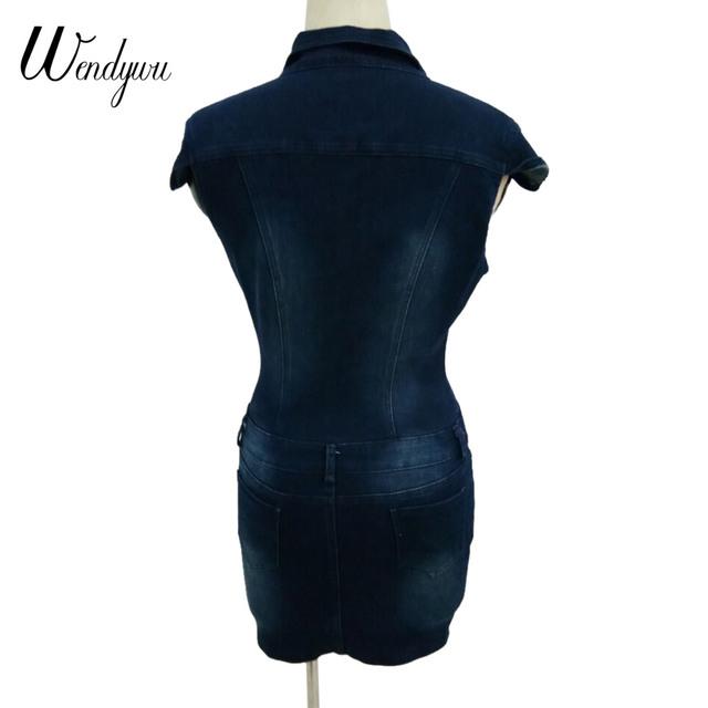 Wendywu Fashion Sexy Turn-down Collar Short Sleeve Dark Blue Denim Buttons Bodycon Mini Dress