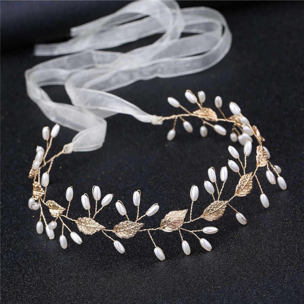 HOOH 2020 Mode Braut Crown Hochzeit Haar Zubehör Frauen Floral Perle Stirnband Haarnadel Ornamente Braut tiara Kopfstück