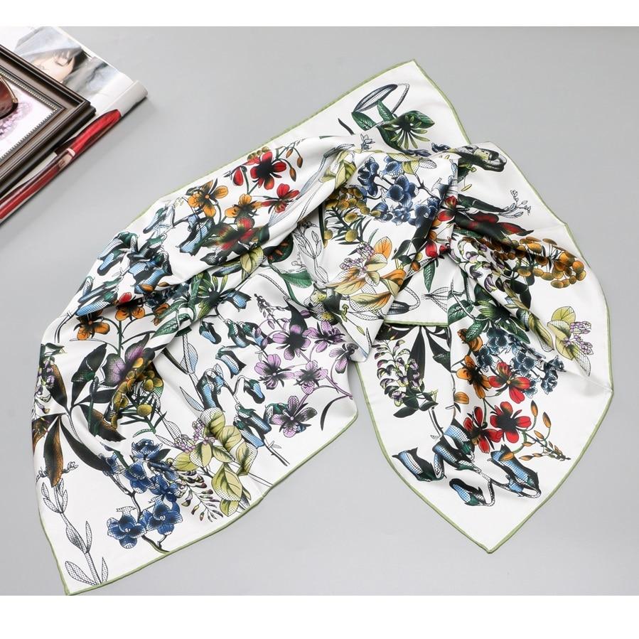 2019 Floral Large Square 100% Silk Scarf Shawl Foulard Women's Fashion Head Scarves Hijab 35 X 35 Inches