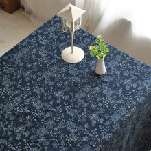 Natural tablecloth Home decor writing desk cotton Multisize Vintage floral table cover japan dining deep blue