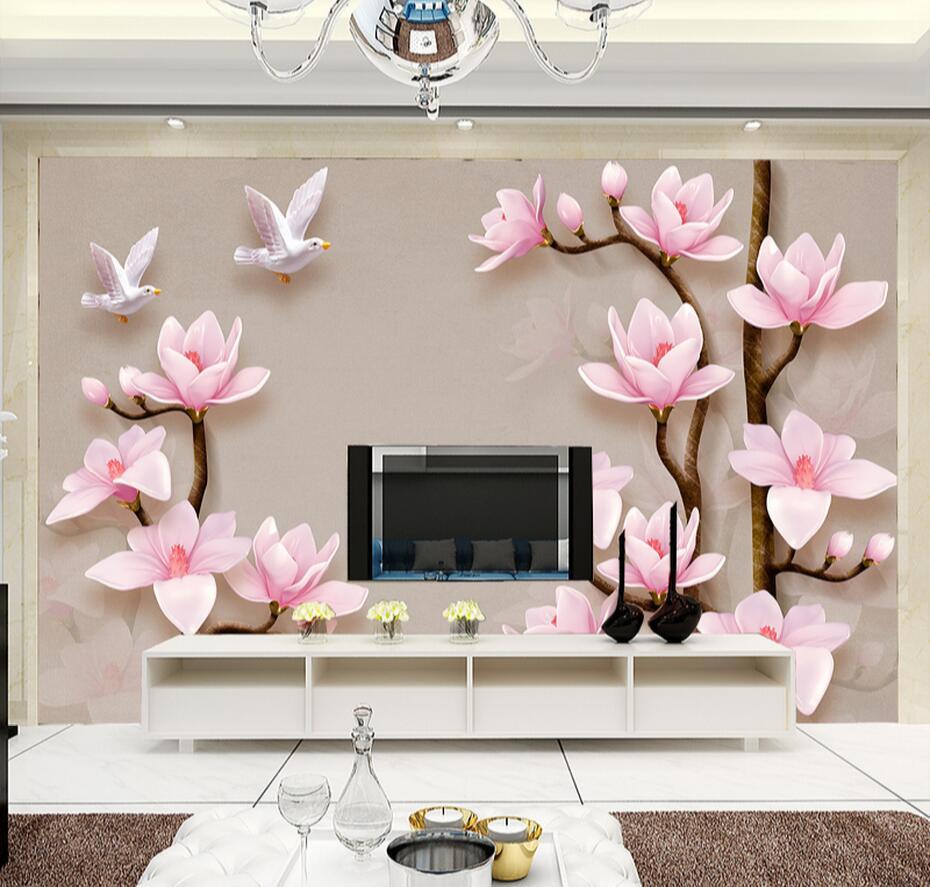 Pink Magnolia Denudata Pigeon Photo Wall Paper Large Mural