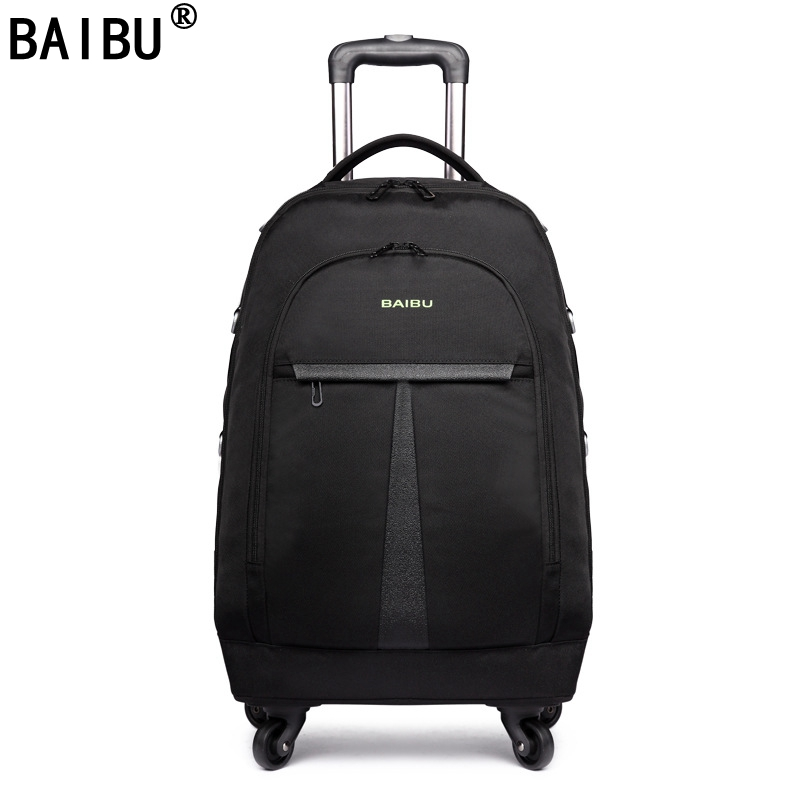 BAIBU Women Oxford Rolling Luggage Suitcases on Wheel Men Business Trolley Spinner Fashion Cabin luggage Travel Bag Soft Trunk black travel bag spinner suitcases wheel trolley business rolling luggage large capacity carry on cabin luggage backpack
