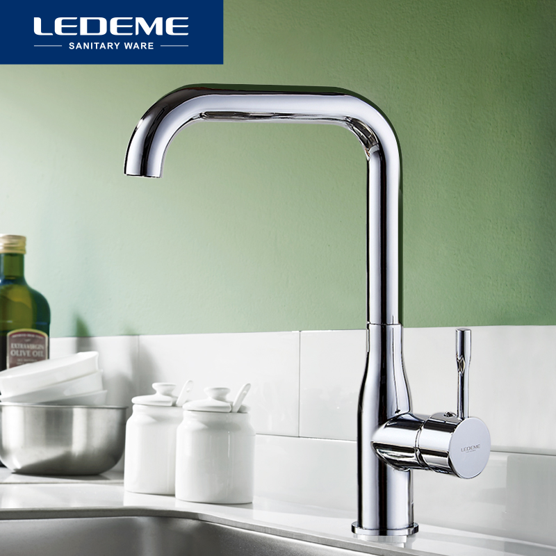 LEDEME Kitchen Faucet Electroplating Chrome Modern Kitchen Faucet Mixer Tap Ceramic Valve Core Single Holder Single Hole L4698