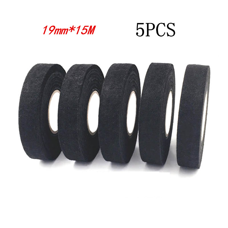 5pcs  Heat-resistant Wiring Harness Tape Looms Wiring Harness Cloth Fabric Tape Adhesive Cable Protection 19mm X 15M