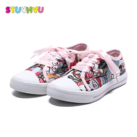 Girls Canvas Shoes 2018 Spring Autumn New Soft Bottom Children Casual Shoes Cartoon Printing Graffiti Pink