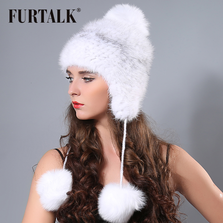 FURTALK  Winter Mink Fur Hat for Women Warm Knitted Real Mink  Fur pompom hat Soft Girls Winter Hats 2019