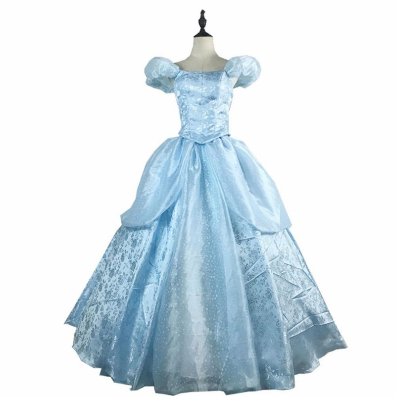 Newest Arrival Top Quality Cinderella Princess Cosplay Costume For Adult Womens Cinderella Dress Costumes Blue Dress