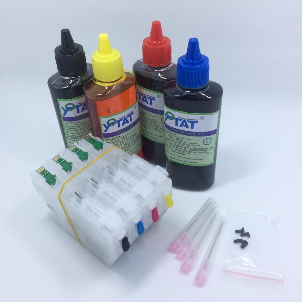 YOTAT 4Color 100ml Dye Ink + Refillable ink cartridge LC3111XL LC3111 for Brother DCP-J972N DCP-J973N-W/B DCP-J572N MFC-J893N lc73 lc79 lc75 lc1240 lc1280 refillable cartridge for brother dcp j6510dw j6710dw j6910dw