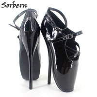 Sorbern 18cm/7'' Women High Thin Heels Pumps Buckle Strap Ballet Shoes Plus Size Pointed Toe Patent Leather Pump Ankle Shoes