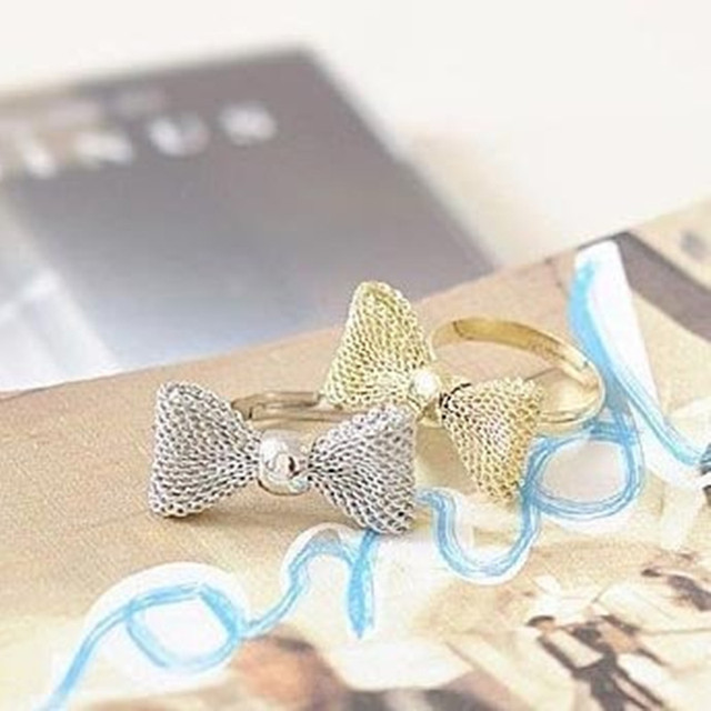 R027 New Fashion gold color Exquisite Noble Cute Bow ring,fashion ring,adjustabl
