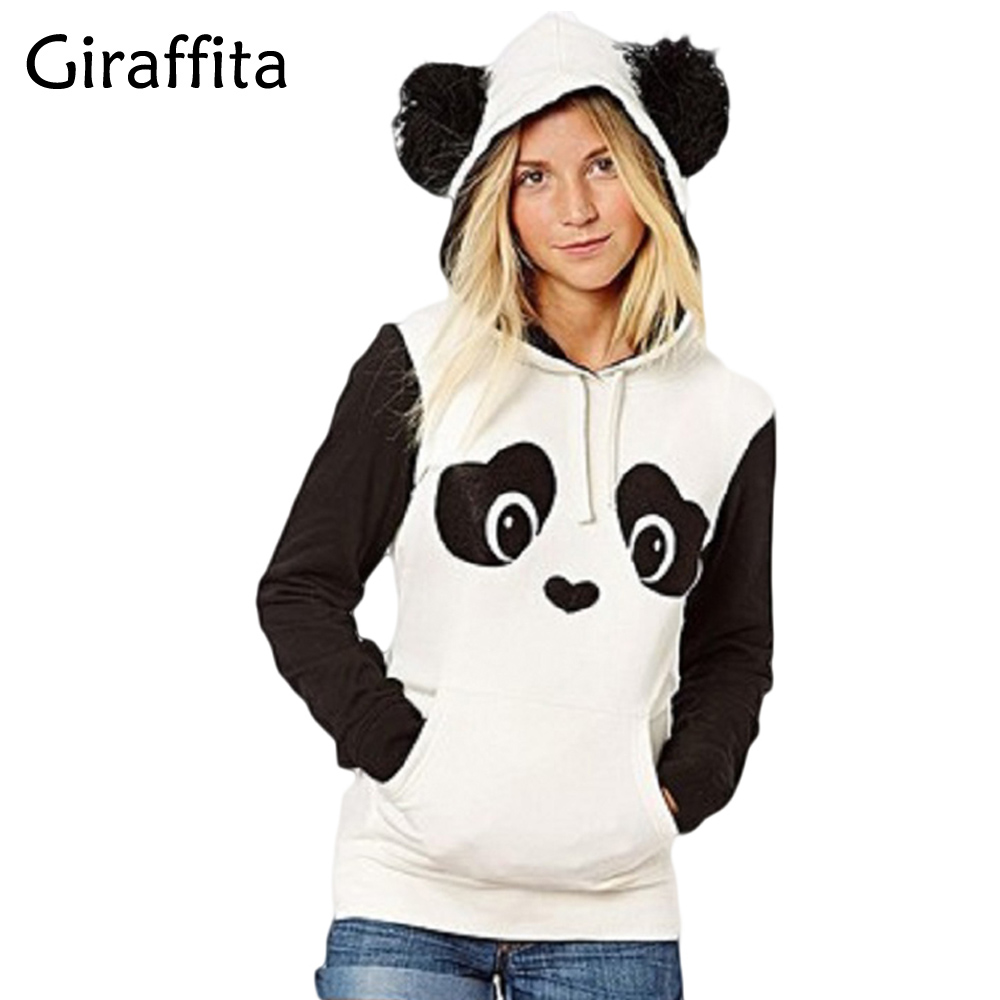 Giraffita New College Wind Women Hoodies Fashion Cartoon Panda Sweatshirts Casual Printed Mixed Color Harajuku Tracksuits Female
