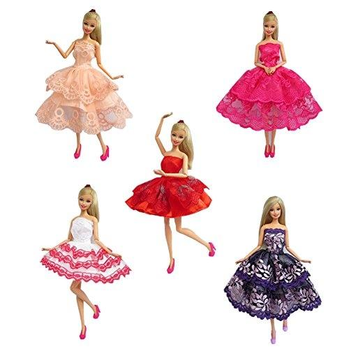 LeadingStar 5 set of Handmade Barbie Dresses Clothes Outfit for Barbie Doll random style zk30 random 10 items   fashion 5 outfit   5