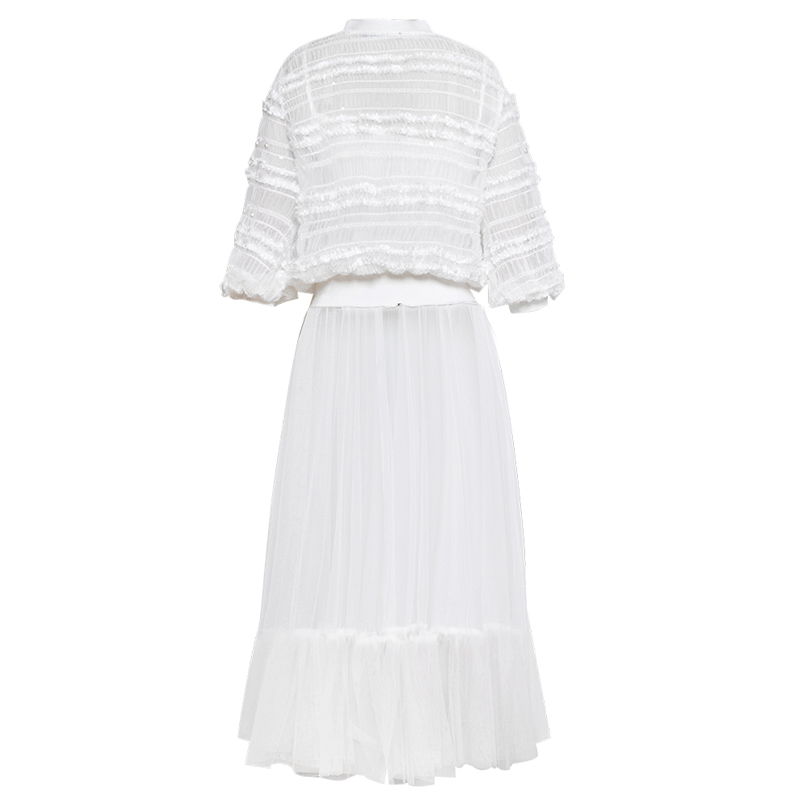 Femme Robe Tenues Pour Pièces Chemise Blanc Baseball Transparent Usure Perles Deux D'été Lanterne Tulle Illusion Manches Zipper Dames TqEw55dS