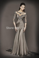 Long gray dress party in 2017, the emergence of new and formal evening dress intermittently top mermaid put chiffon dress