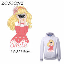 ZOTOONE Iron on Patches for Clothes Heat Transfer Smile Camera Blond Girl Patch T Shirt Stickers DIY Accessory Applique Kids