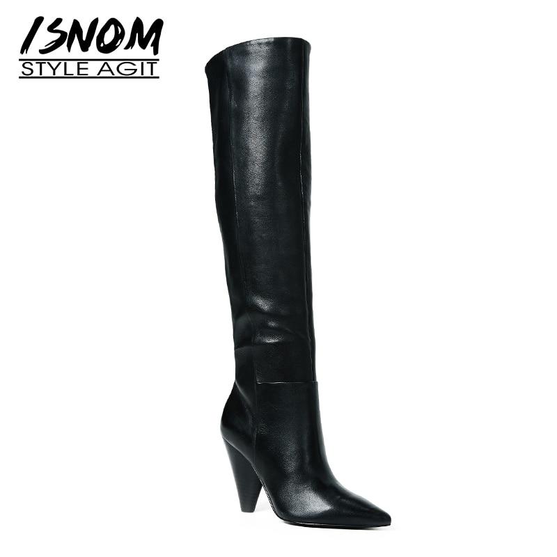 ISNOM/Большие размеры 32-45, женские сапоги до колена из коровьей кожи вечерние острым носком на высоком каблуке, женская обувь, новинка 2018 года, ...