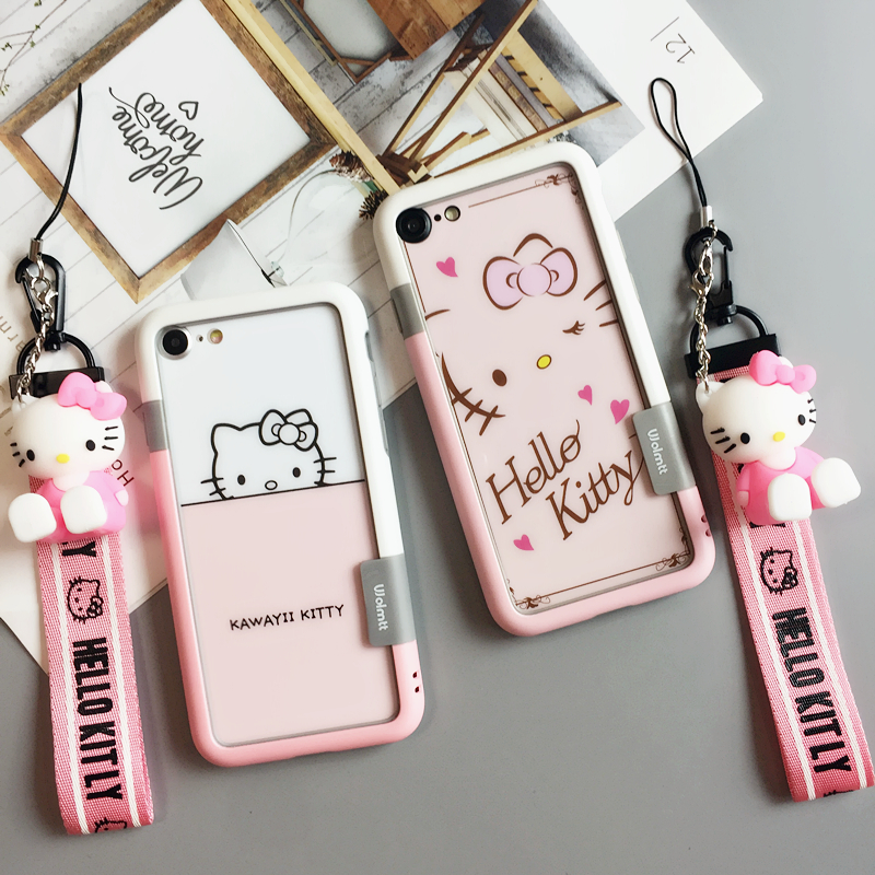 For iPhone 8 Plus shockproof bumper back front hello kitty Tempered Glass Screen film for iPhone