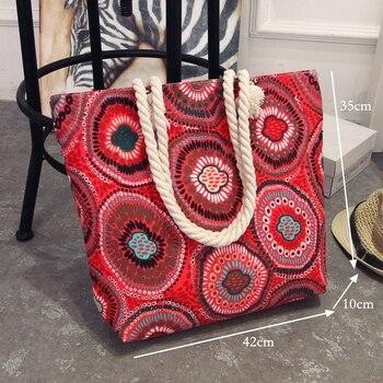 2018 Women Canvas Bag Bohemian Style Strip Beach Shoulder Bag Casual Female Tote Hand Bag Floral Big Shopping Bag CJ456