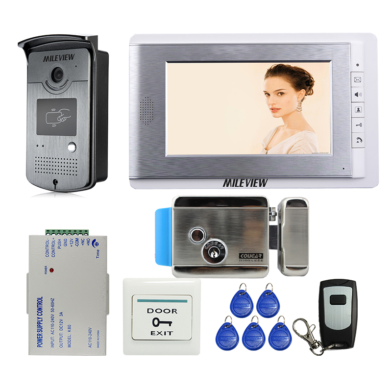 Brand New Wired 7 inch Video Door Phone Intercom Entry System + RFID Access Camera + Electric Control Door Lock FREE SHIPPING yobangsecurity wired 7 inch lcd video door bell phone intercom rfid card access control home gate entry system with door lock