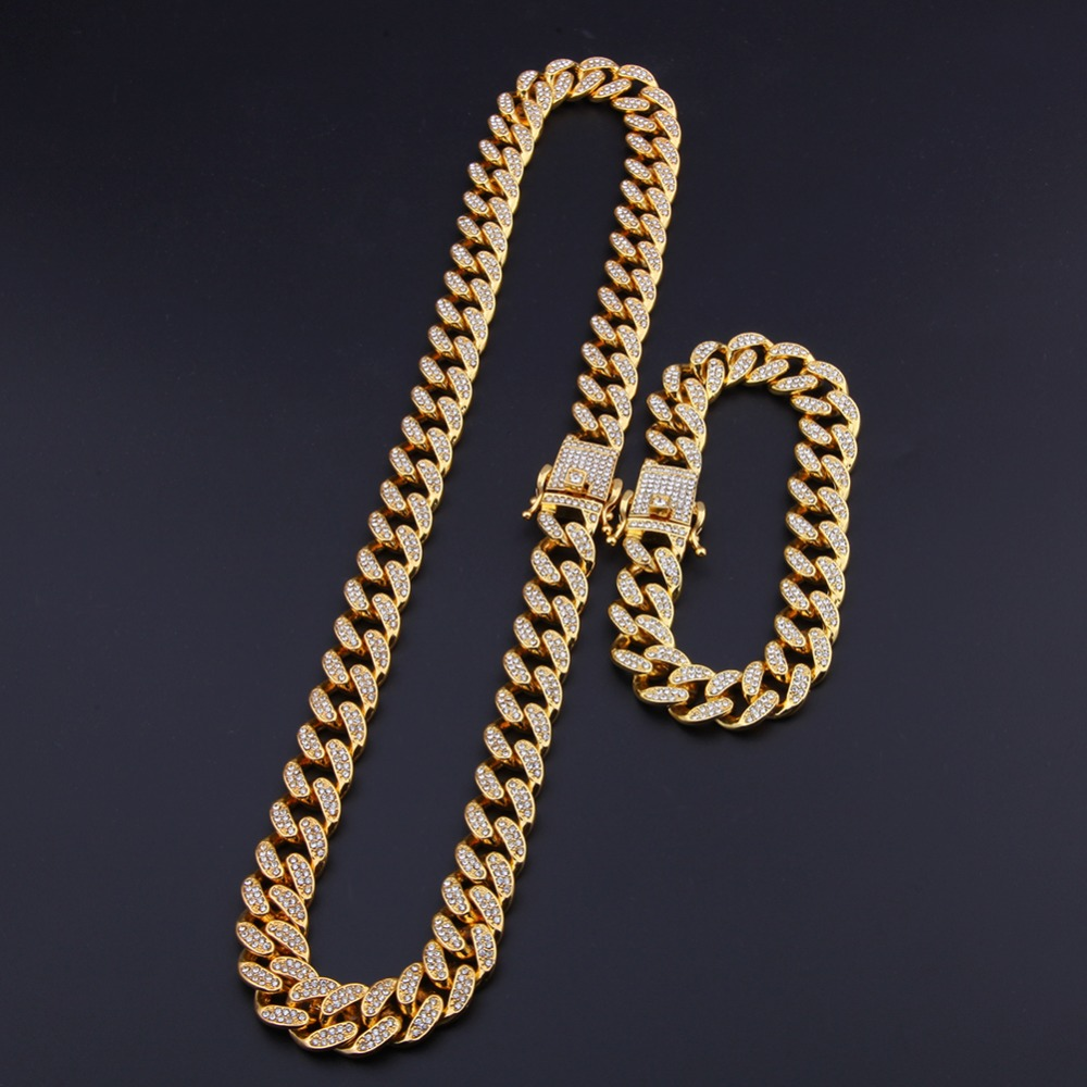 13mm Miami Cuban Link Chain Gold Silver Necklace Bracelet Iced Out Crystal Rhinestone Bling Hip hop for Men Jewelry Necklaces 6