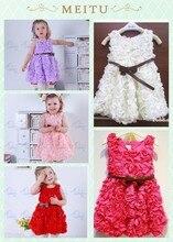 EMS DHL Free Shipping Gorgeous Girls Princess Dress Fancy Girls Party Dress 2014 Hot Selling Rosette