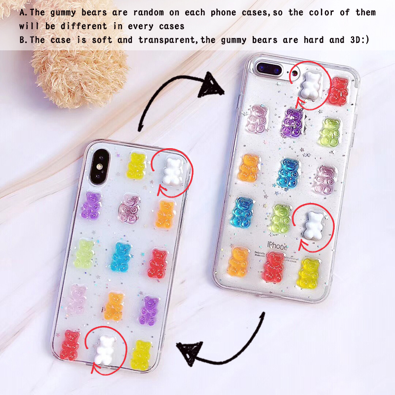 best website 07370 855c6 US $2.95 26% OFF|ShinyBean For iPhone x Case Cute 3D Gummy Bear Candy Color  Soft Cases For iPhone X 6 6S 7 8 Plus XS Max XR Glitter TPU Cover-in ...
