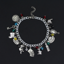 HANCHANG Jewelry Alice In Wonderland Charm Bracelet Cat Mad Hatter Rabbit  Bangle A Bracelet Cosplay Jewelry Women Gilr