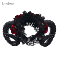 Lychee Gothic Punk Red Rose Flower Sheep Horn Headband Halloween Cosplay Headwear Accessories For Women